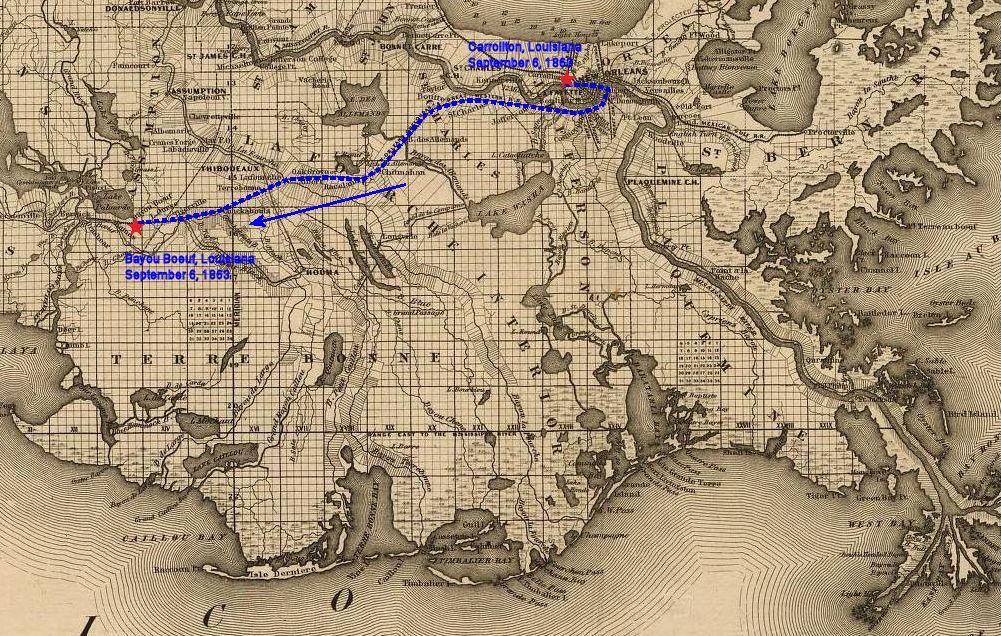 Map Of Louisiana Bayou.September 6 1863